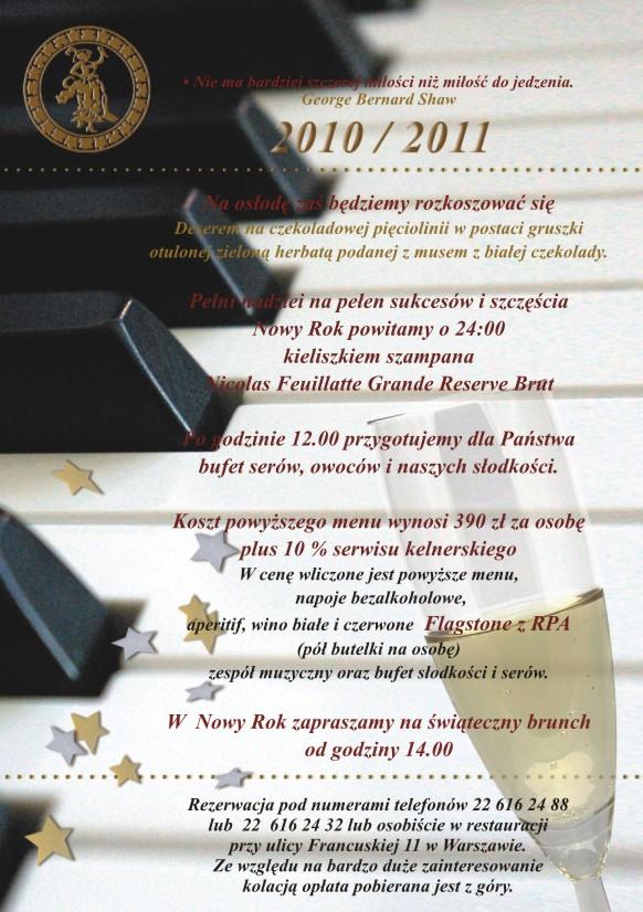 Zaproszenie na Sylwester Restauracja Dom Polski